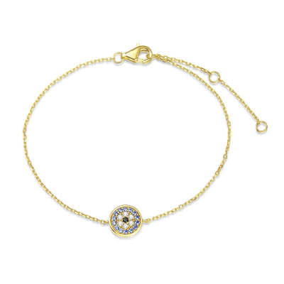 14k Solid Yellow Gold Pave Round Stones Blue Evil Eye Bracelet