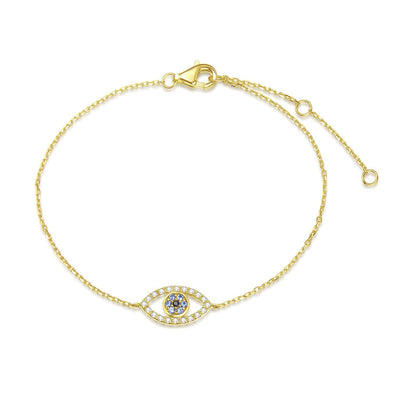 14K Solid Yellow Gold Evil Eye Bracelet With Cubic Zirconia For Women