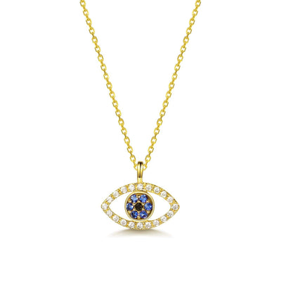 Evil Eye 14K Solid Yellow Gold Pendant Necklace, 18 INCH