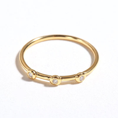 Line&Dots Yellow Gold Stackable Rings - FANCI ME