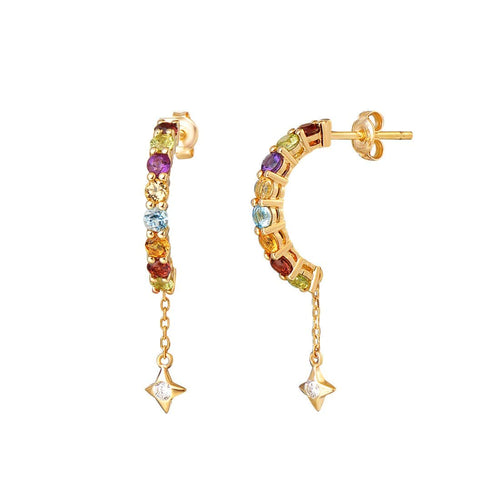 """Starry Moon Wish"" Multi Color Gemstone Drop Earrings - FANCI ME"