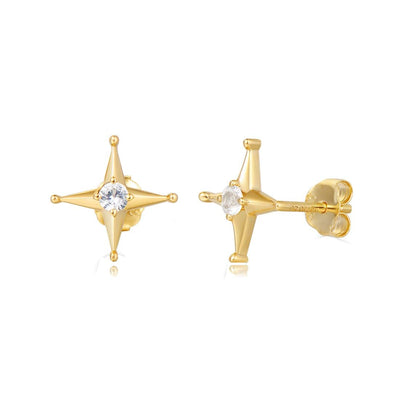 """Simply Star"" Solid 14K Yellow Gold Diamond Star Studs - FANCI ME"