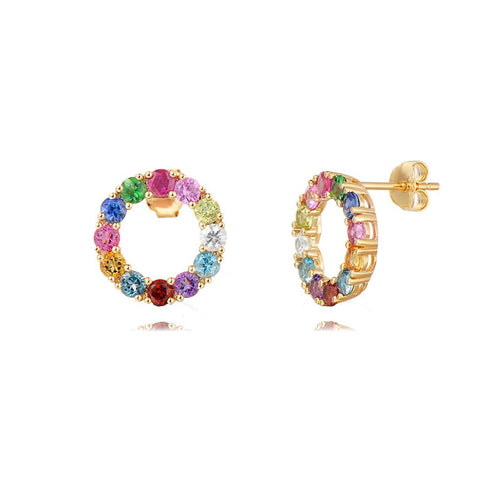 """Magic Circle"" Multi Color Gemstone Circle Post Earrings - FANCI ME"