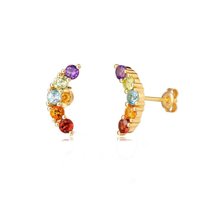 """Mini Moon Wish"" Multi Color Gemstone Post Earrings - FANCI ME"