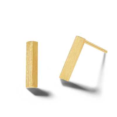Brushed Bar Solid Gold Stud Earrings - FANCI ME