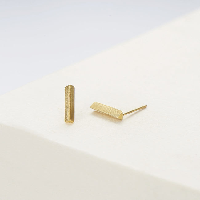 Brushed Bar Solid Gold Stud Earrings