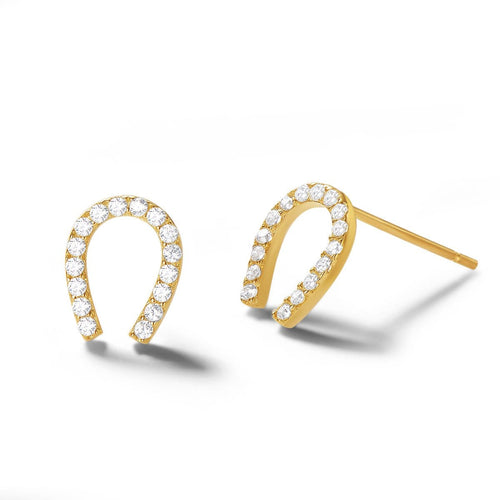 Horseshoe 14K Solid Gold Stud Earrings