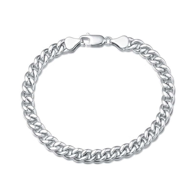 Mens Sterling Silver Cuban Link Chain Bracelet, 6MM