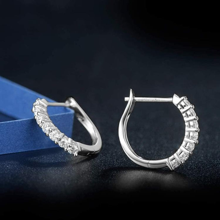 14k White Gold and Moissanite Diamond Earrings - FANCI ME