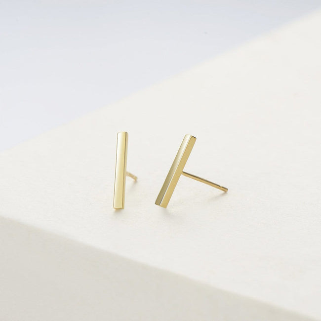 Chime Bar 14K Solid Gold Stud Earrings