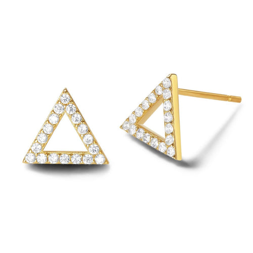 Triangle Shape 14K Solid Gold Stud Earrings