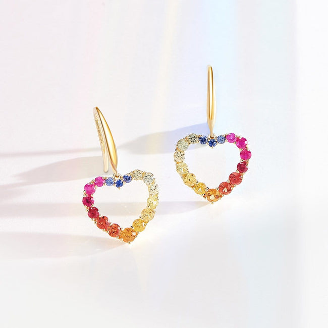 """Rainbow Heart Dew"" Drop Earrings - FANCI ME"