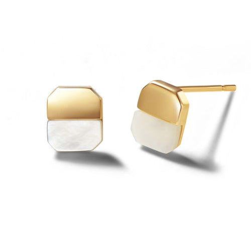 Emblem 14K Solid Gold Stud Earrings