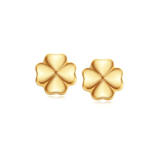 """Lena"" 18K Yellow Gold Clover Stud Earrings"