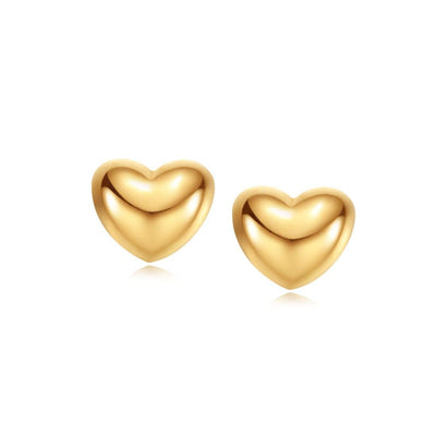 """Felicia"" 18K Yellow Gold Heart Stud Earrings - FANCI ME"