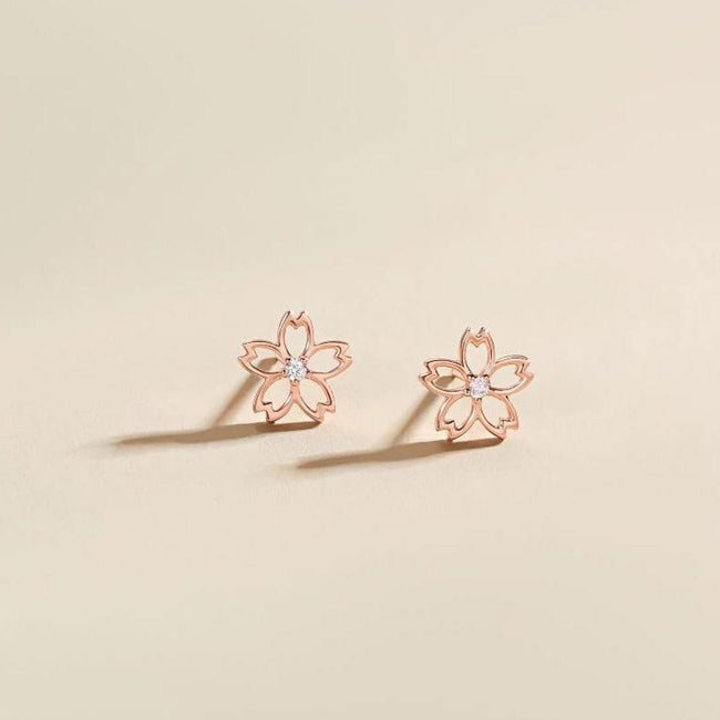 """Lia"" 18K Rose Gold CZ Cubic Zirconia Cherry Blossom Flower Stud Earrings - FANCI ME"