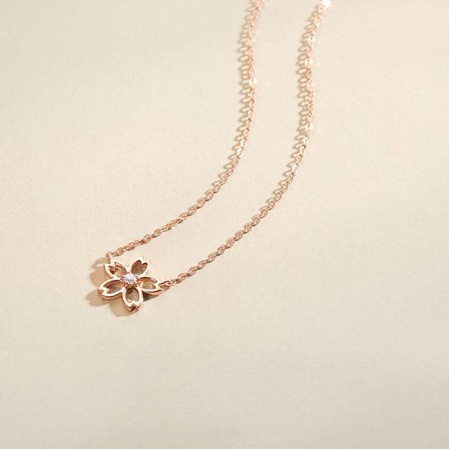 """Lia"" 18K Rose Gold CZ Cubic Zirconia Cherry Blossom Flower Necklace"