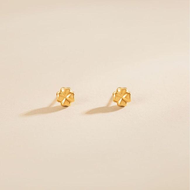 """Lena"" 18K Yellow Gold Clover Stud Earrings - FANCI ME"