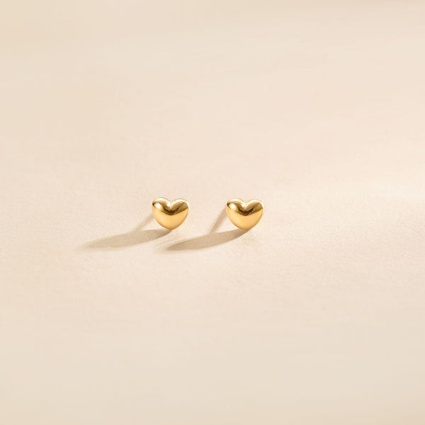 """Felicia"" 18K Yellow Gold Heart Stud Earrings"