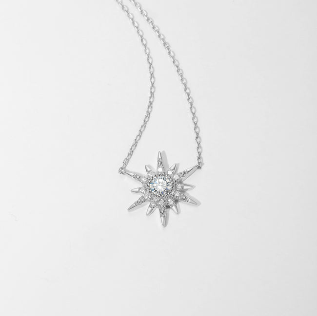 """White Burst"" 18K White Gold White Sapphire Star Necklace - FANCI ME"