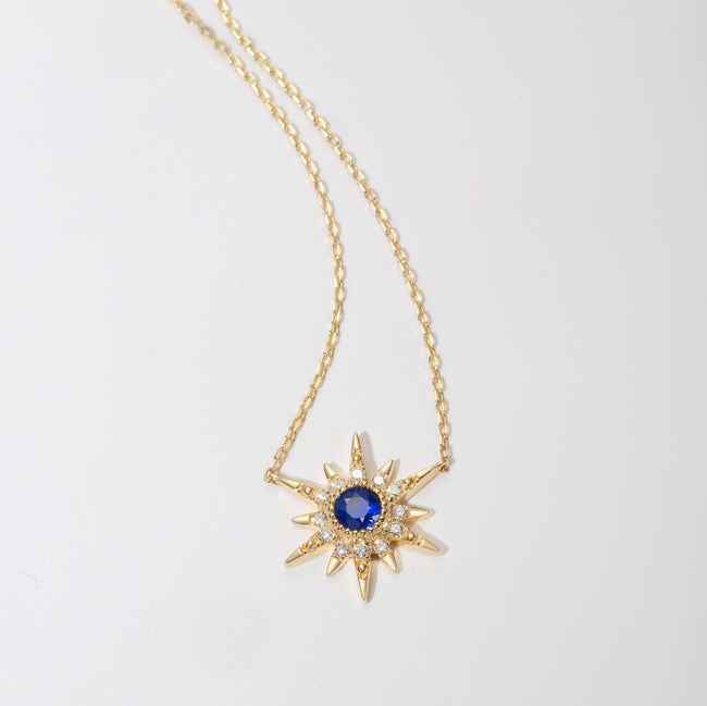 """Golden Burst"" 18K Yellow Gold Blue Sapphire Star Necklace - FANCI ME"