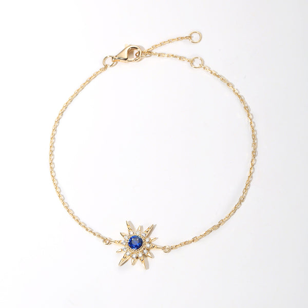 """Golden Burst"" 18K Yellow Gold Blue Sapphire Star Bracelet - FANCI ME"