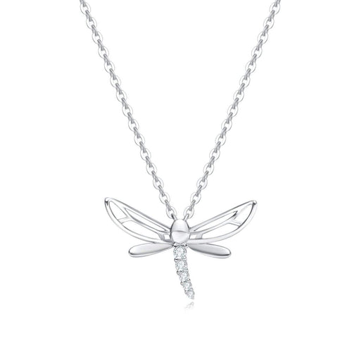 14k Solid White Gold CZ Dragonfly Necklace
