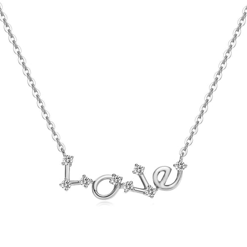 Constellation Love Letter Pendant Necklaces 14k White Gold - FANCI ME