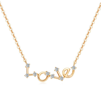 Constellation Love Letter Pendant Necklaces 14k Yellow Gold - FANCI ME