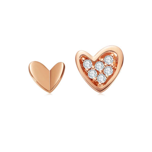 Sweet Heart Rose Gold Stud Earrings