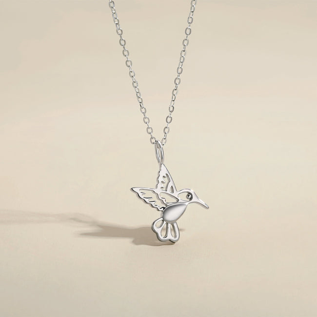 White Gold Statement Dainty Bird Necklace