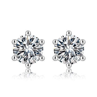 14K White Gold Plated Sterling Silver Six Prong Solitaire Moissanite Studs - FANCI ME