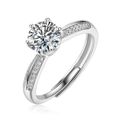 14K White Gold Plated 925 Sterling Silver One Carat Moissanite Flower Design Wedding Engagement Ring, ONE SIZE Adjustable - FANCI ME