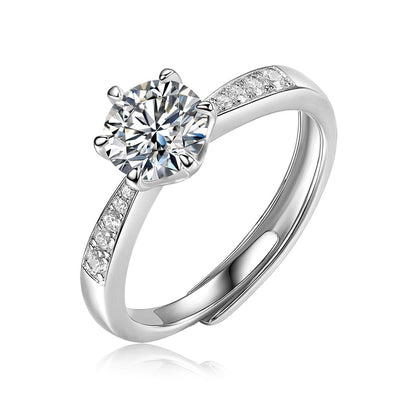 14K White Gold Plated 925 Sterling Silver One Carat Moissanite Four Prong Channel Setting Engagement Ring, ONE SIZE Adjustable - FANCI ME