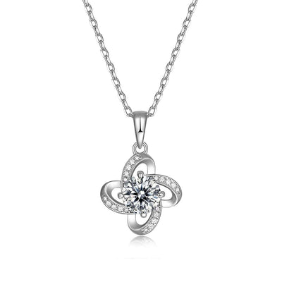 14K White Gold Plated 925 Sterling Silver Moissanite Infinity Love Knot Pendant Necklace - FANCI ME