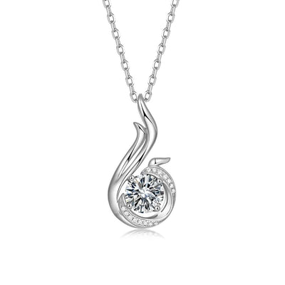 14K White Gold Plated 925 Sterling Silver Moissanite Phoenix  Newbirth Pendant Necklace - FANCI ME
