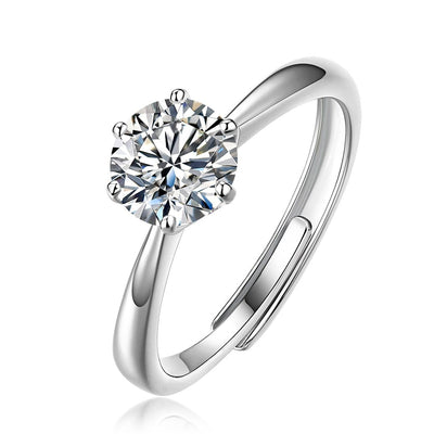 14K White Gold Plated 925 Sterling Silver One Carat Moissanite Six Prong Wedding Engagement Ring, ONE SIZE Adjustable - FANCI ME