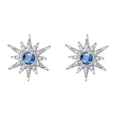 """Blue Burst"" 18K White Gold Topaz Star Earrings - FANCI ME"