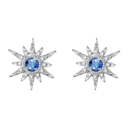 """White Burst"" 18K White Gold White Sapphire Star Earrings"