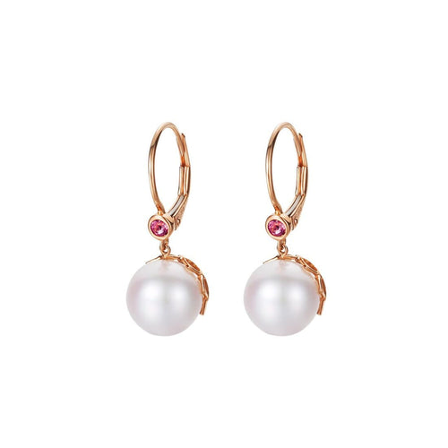 Akoya Pearl Leverback Earrings with 18k Rose Gold Floral Back