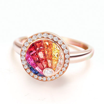 """Full Rainbow"" Sapphire And Diamond Statement Cocktail Ring In 18K Rose Gold - FANCI ME"