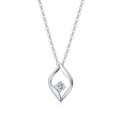 18K White Gold CZ Diamond Wave Pendant Necklace - FANCI ME