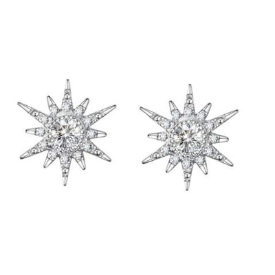 """White Burst"" 18K White Gold White Sapphire Star Earrings - FANCI ME"