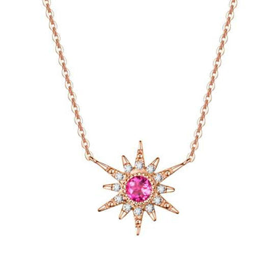 """Pink Burst"" 18K Rose Gold Pink Tourmaline Star Necklace"