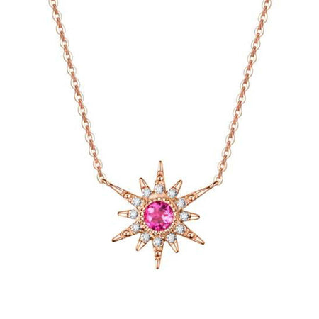Fancy Pink Tourmaline Ring Crown Necklace