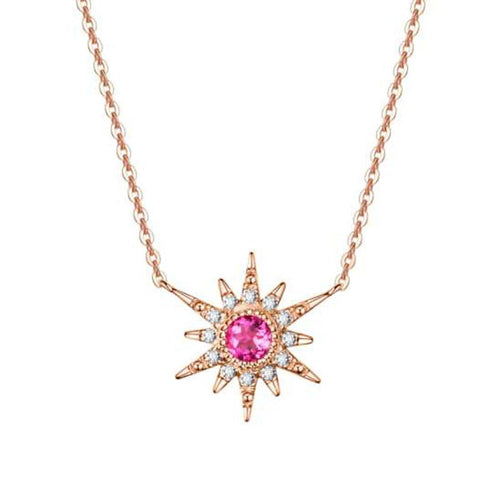 """Pink Burst"" 18K Rose Gold Pink Tourmaline Star Necklace - FANCI ME"