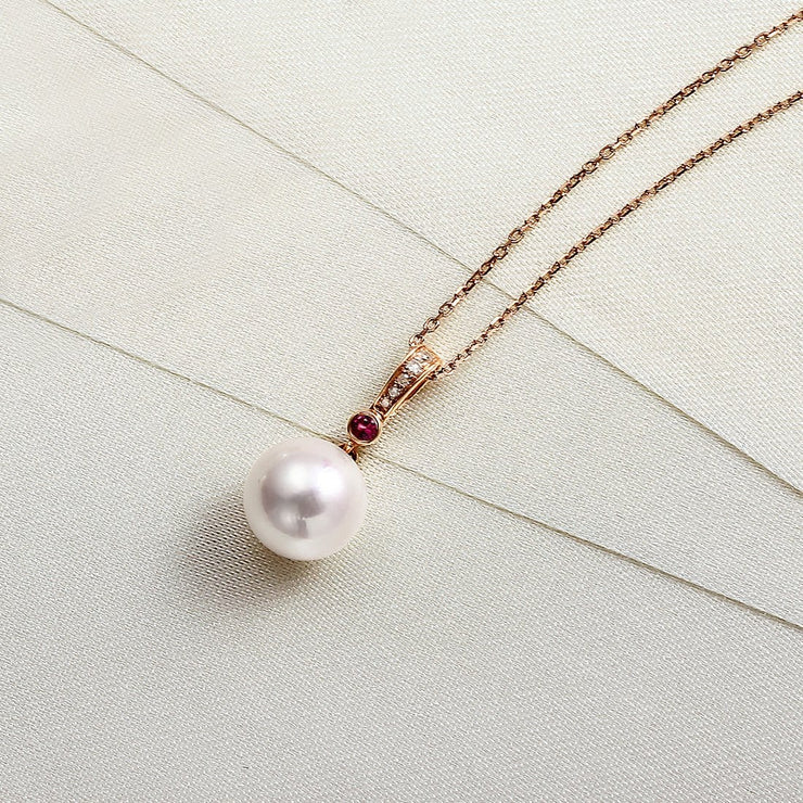 """Ruby Ocean"" Akoya Pearl with Diamond Pendant 18k Gold Necklace - FANCI ME"