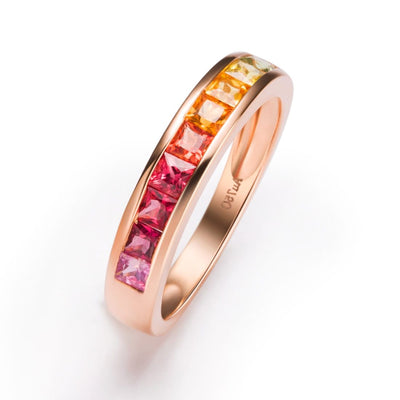 """Rosy Rainbow"" Yellow And Red Color Sapphires Band In 18K Rose Gold - FANCI ME"