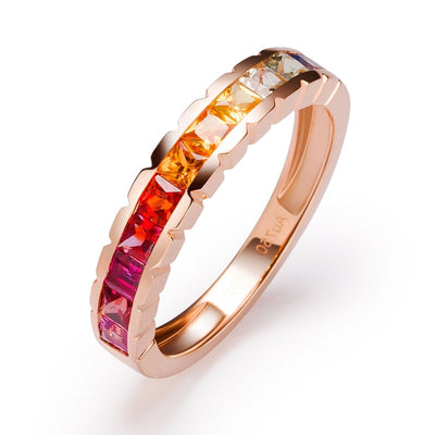 """Wavy Rainbow"" Colored Sapphire Princess Statement Band In 18K Rose Gold - FANCI ME"