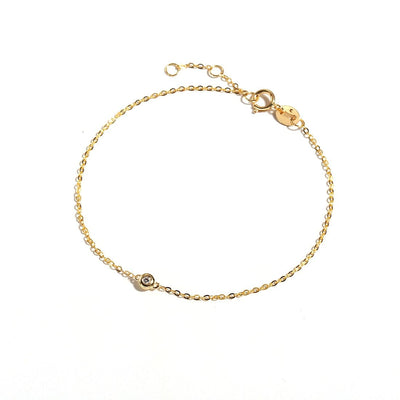 Line&Dots One-Diamond Gold Minimalist Bracelet In 18K Solid Gold - FANCI ME